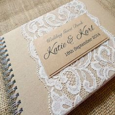 Continue the lace theme across the whole day and cherish a personalised handmade wedding guest book forever. Wedding Album, Wedding Book, Chic Wedding, Trendy Wedding, Perfect Wedding, Wedding Gifts, Our Wedding, Rustic Wedding Guest Book, Wedding Country