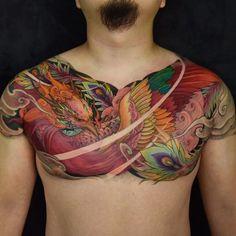 Phoenix Chest piece by Tristen (@tristen_chronicink) done at Chronic Ink Tattoo - Toronto, Canada