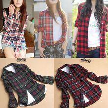 2015 Fashion Blusas  Casual Women Blouses Turndown Collar Long Sleeve Plaids Shirt CS-1001(China (Mainland))