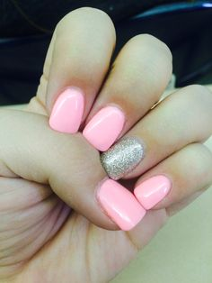 Baby pink nails with gold accent nail