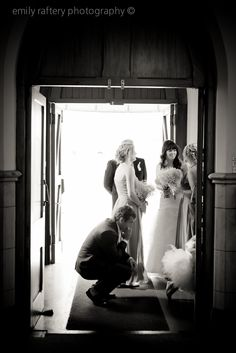 Bridal party waiting to walk into Church