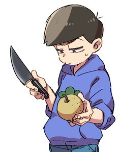 Karamatsu just cut up the pear and dont do anything else with it please