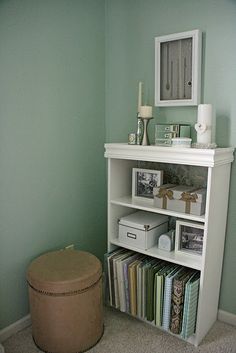 a makeover for that old laminate bookcase from college.