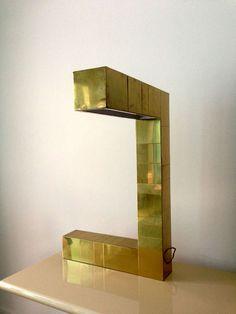 Cityscape geometrical brass lamp Paul Evans at 1stdibs