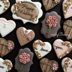 Botanical Wedding cookies in Fall Colors