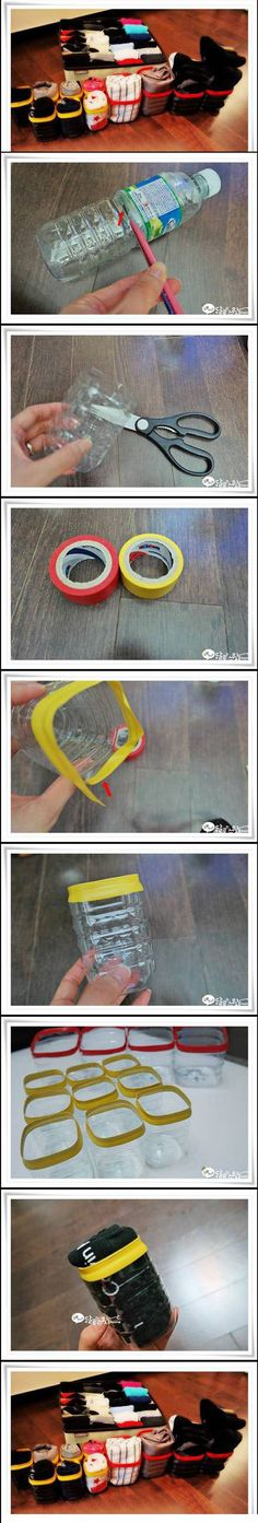 DIY Containers...From Drawers to Suitcase...put soft velcro on the bottoms and the hook side on the inside of drawers and suitcases to keep in place.
