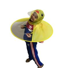Yellow Duck Kids Raincoat (Umbrella) with UFO Cap. Rain CapeFolding ... 3389a3343559