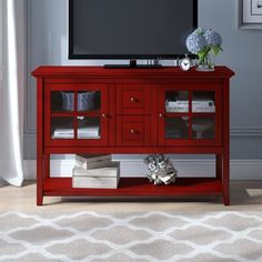 Beachcrest Home Greggs TV Stand for TVs up to 58 inches Colour: Red Red Tv Stand, Tv Stand Set, Tv Stand Decor, Cool Tv Stands, Adjustable Shelving, Living Room Furniture, Furniture Decor, Storage Spaces, Interior