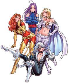 Psylocke, Phoenix, Emma Frost, Black Cat by Shunya Yamashita