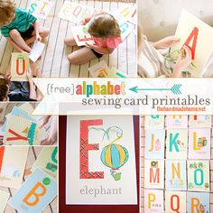 alphabet sewing card printables - free printables
