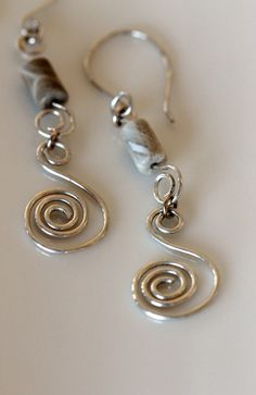 sterling silver coil earrings long dangle by girlthree on Etsy, $39.00