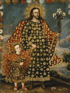 San José y El Nino Jesús. Ánónimo del siglo XVII.