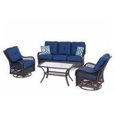 Hanover Outdoor Furniture Orleans 4-Piece Wicker Patio Conversation Set with Navy Cushions