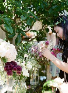 DIY floral crown stations for a beautiful backyard garden bridal shower! #bridalshower #love #romance #marriage #wedding