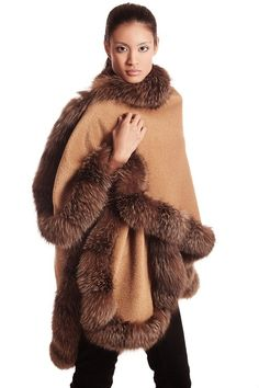 Camel Alpaca Cape Fox Trim: Fall 2013-Winter 2014. #fall2013 #furfashion #camelcape Fur Trimmed Cape, Fur Cape, Pancho Outfit, Fur Fashion, Womens Fashion, Fox Coat, Fur Clothing, Fabulous Furs, Vintage Fur