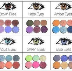 Eye Makeup : Make-up; eye shadow colours for brown eyes, hazel eyes, amber eyes, aqua eyes, g… Beauty Make-up, Beauty Hacks, Hair Beauty, Fashion Beauty, Color Fashion, Pop Fashion, Vegan Beauty, Fashion Hacks, Beauty Essentials