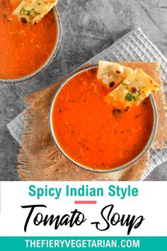 This spicy Indian tomato soup (also known as tamatar ka shorba) recipe is easy, vegan, homemade, and low-calorie. Quick and healthy, it comes together in just 15 minutes for the best light meal or side you'll ever have! Make it today and pair it with crusty fresh bread or garlic naan, or ladle over a good biryani. Vegetarian Lunch Ideas For Work, Easy Vegan Lunch, Vegan Lunches, Indian Tomato Soup, Indian Soup, Spicy Vegetarian Recipes, Vegan Indian Recipes, Shorba Recipe, Vegan Stew