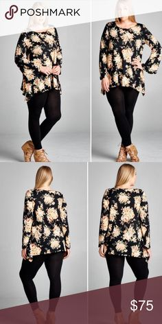 {Plus} Floral Tunic Top Gorgeous floral tunic top! Color: black background with really pretty peach shades in floral detail. Material: 95/5 Rayon/Spandex MADE IN USA!!  *1X (size 14-16)  *2X (size 18-20)  *3X (size 22-24) Tops Tunics