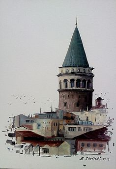 Savaş Simitli Istanbul City, Istanbul Turkey, Watercolor Illustration, Watercolor Art, Watercolor Paintings For Beginners, Pics Art, Turkish Art, Cool Art Drawings, Urban Sketching