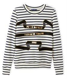 Marinegestreepte damessweater met opdruk beige Coquille   blauw Abysse -  Petit Bateau Beige, Bretonse Strepen f01f5986493