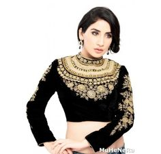 The Maharani Blouse. Studded & Embroidered ready made stitched blouse - Blouses - Saree,Blouse & more