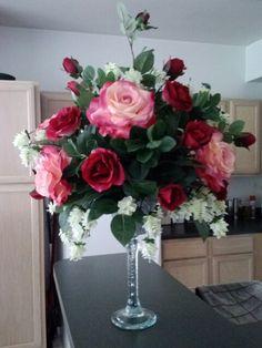 roses on pedestal