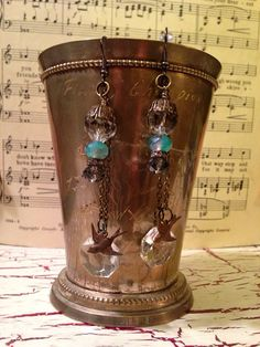 Vintage,Antique, OOAK, Chandelier Crystals, Swallow Bird,Turquoise.Crystal Earrings on Etsy, $25.00