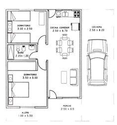 Plano de casa de 2 dormitorios y 80 metros cuadrados