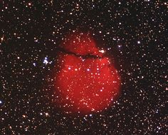 "Snowman Nebula (Sh2-302). A small emission nebula in the constellation Puppis. You can see his scarf and long carrot nose. (Image: Xanadu Observatory) Mona Evans, ""Galactic Winter Games"" http://www.bellaonline.com/articles/art182620.asp"