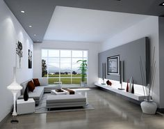 Charmant Stunning Living Room Interior Design With Amazing Led Lighting Above  Floating Shelves Under The Tv Wall