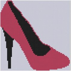 Red High Heel Shoe Cross Stitch Pattern