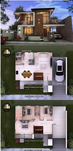 3 Storey House Design, Two Story House Design, 2 Storey House, Simple House Design, Bungalow House Design, House Front Design, Double Story House, Best Modern House Design, Modern House Facades
