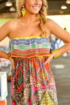 i love the earrings with this. the colors are amazing! such a great outfit for summer.