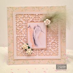 Angela O'Donoghue - Downton Abbey Filigree dies - Downton Decor die - Papers from pad - Image and flowers from Papercrafting kit - Centura pearl Hint of Silver card - Collall Tacky glue, All Purpose Glue and 3D Glue Gel - #crafterscompanion #DowntonAbbey