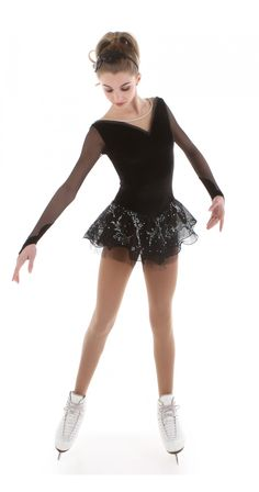 Black Illusion Classic Dress - Black long sleeve figure skating dress with a delicate flower tulle.