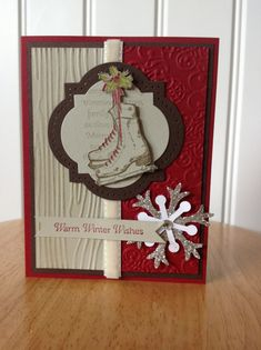Stampin Up handmade Christmas card - sparkle snowflake and ice skate