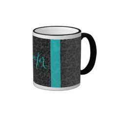 Bold Elegant Black & Turquoise Floral Damasks 2 Coffee Mug