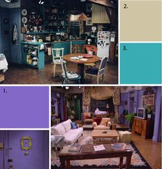 monica's apartment colors: 1.  2071-40 crocus petal purple  2. OC-44 misty air  3. 2048-40 poolside blue. MAYbe for a craft room?