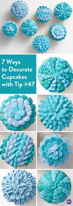 7 Ways to Decorate Cupcakes with Tip 47 - Get more use out of your decorating tips! Here are 7 ideas for decorating cupcakes using Tip 47, also known as the basketweave tip.