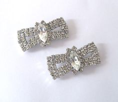 Rhinestone Shoe Clip Pair Bows 1950s Art by LovesVintageDelights, $25.00