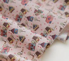 Cute House Cotton Fabric 43 x 36  Pink  per Yard 33208 by landofoh, $11.95