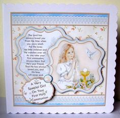 FIRST HOLY COMMUNION GIRL DOVE 8x8 Mini Kit on Craftsuprint designed by Janet Briggs - made by Margaret McCartney