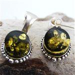 Green Amber Silver Post Drop Earrings