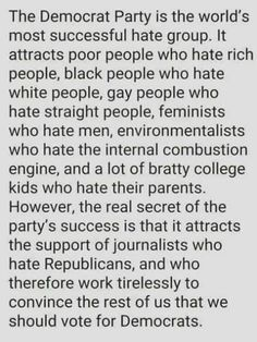 Why The Democrat Party Is The World's Most Successful Hate Group