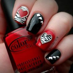 Valentine Day Nail Art idea - Rocker Chic Nails