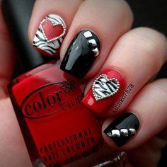 Valentine Day Nail Art idea - Rocker Chic Nails