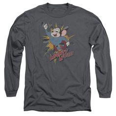 MIGHTY MOUSE/BREAK THROUGH - L/S ADULT 18/1 - CHARCOAL - 2X  BREAK THROUGH | Cartoon T-Shirts | Mopixiestore.com