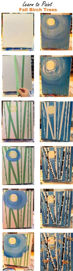 Step By Step Painting - How to paint birch trees using painter's tape.