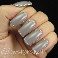 Rhinestone and Glitter Placement Framed Nails: A manicure using Nails Inc Marylebone Mews