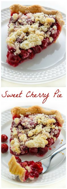 Homemade Sweet Cherry Pie topped with buttery crumbs!